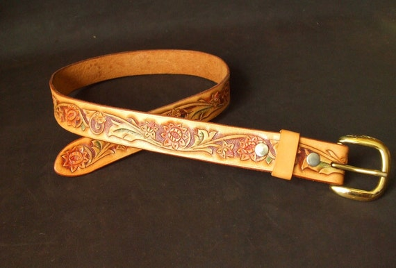 Flower and Bud Tooled Leather Belt xs s