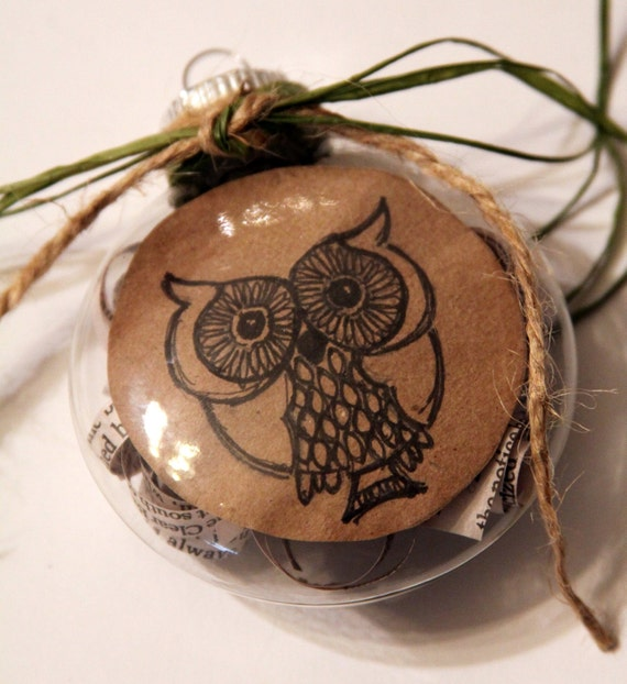 Owl Christmas Ornament, glass upcycled paper, and an original drawing inside