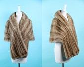 vintage 1950s mink stole / 50s light brown mink / Doris Day Mink