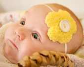 yellow button flower headband