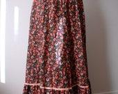Long Hippie Boho Folk Black and Orange Floral Print Maxi Skirt