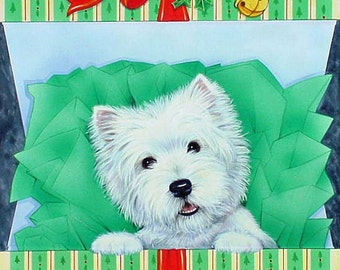 "Westie Christmas Card ""The Gift"""