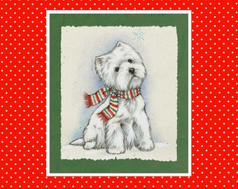 Merry and Bright Westie Christmas Cards by Borgo