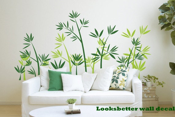 Green Bamboo Forest Wall Decal Vinyl Wall Decals Wall Decor Wall Sticker