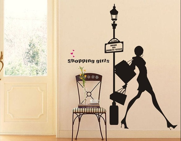 ... Wall Sticker - Fashion Shopping Girl. 🔎zoom