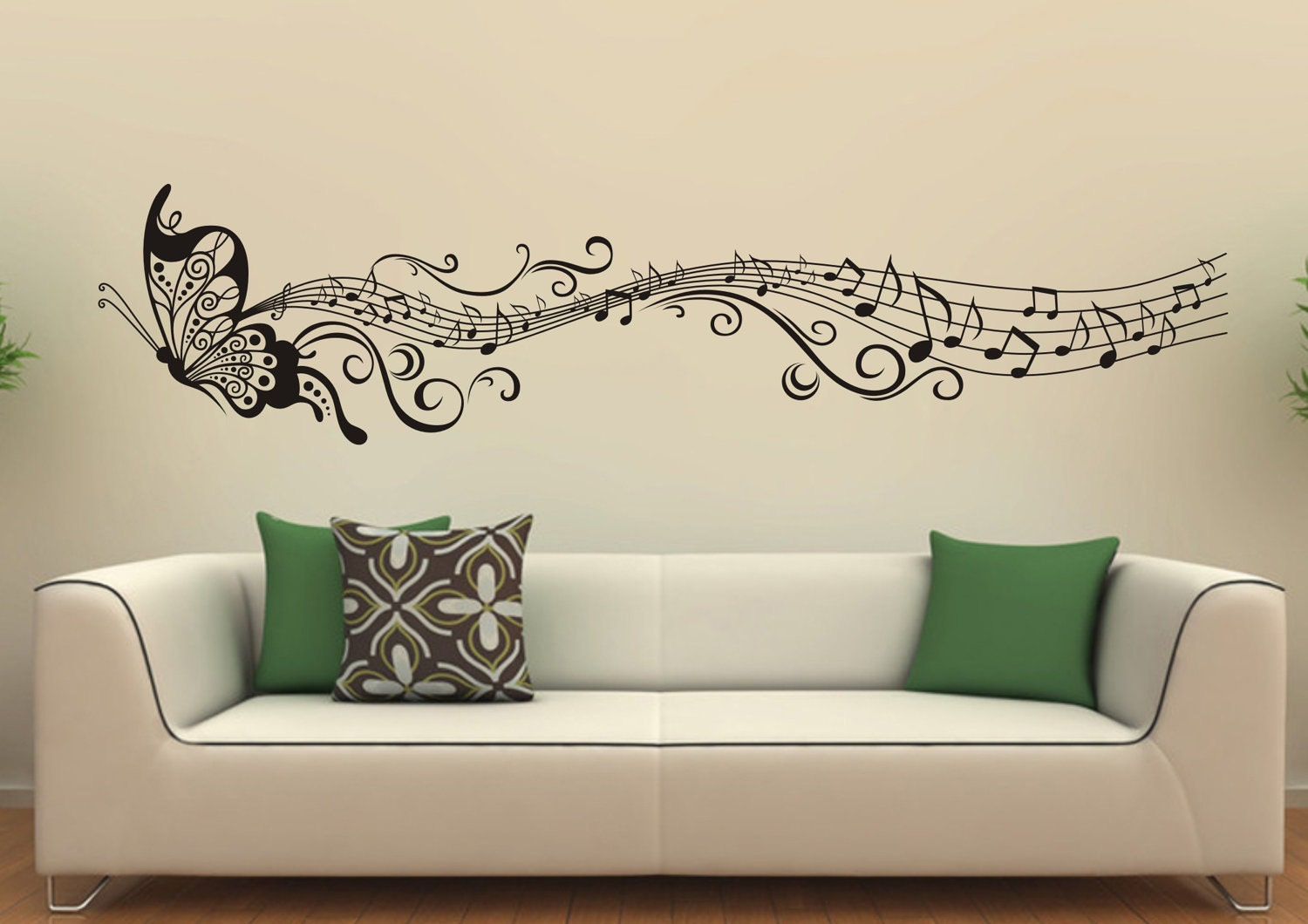 Music butterfly wall decals wall stickers vinyl wall decor for Decor mural wall art