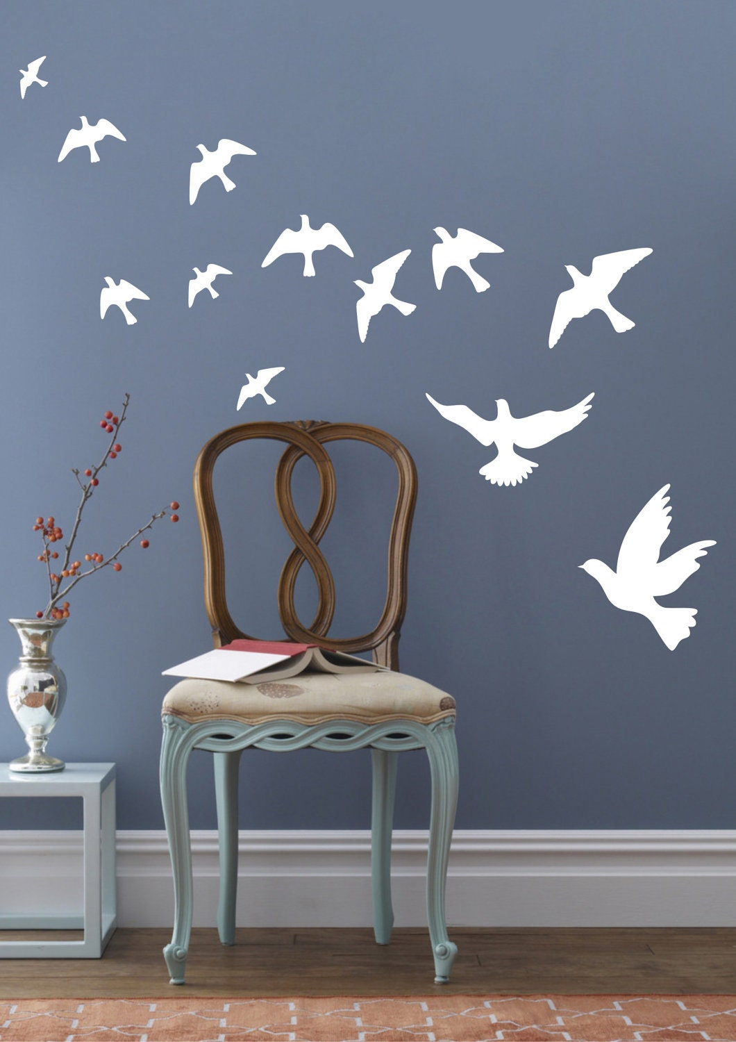 Peace pigeons birds wall decals wall stickers vinyl wall decor for Sticker deco