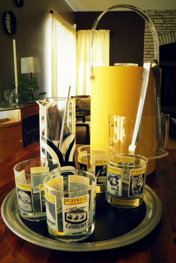 """Ideal for NY/Broadway/Theatre Buffs--Vintage 9-Pc. Cocktail Set--4 """"Playbill"""" Glasses, Coordinating Colony Pitcher, Ice Bucket, Tray & Tools"""