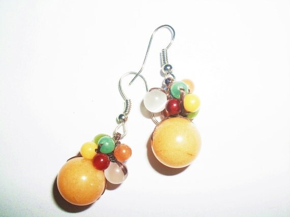 Dangle Yellow Quartz with Bunch of  Glass Beads Mixed with Crystal Earrings
