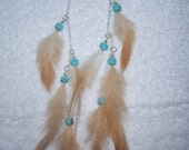 Feather Earrings -  Natural Feathers & Turquoise Beads (Long)