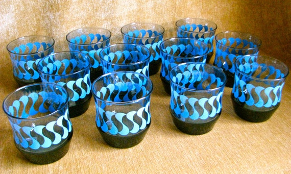 Vintage Mid Century Blue Patterned Glass Tumblers Set of 12