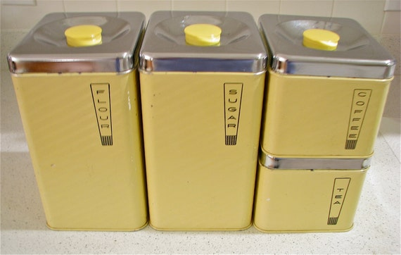 RESERVED Vintage Yellow Coffee Tea Sugar Flour Beautyware Steel Kitchen Cannisters Set of 4