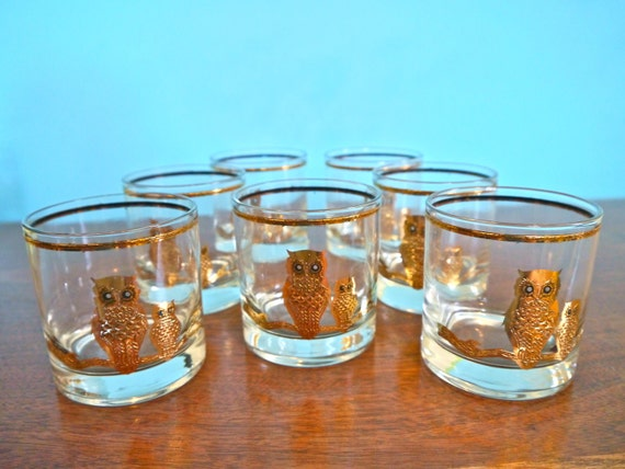 Beautiful Mid-Century Culver Signature 22K  Gold Owl Glasses Set of 7