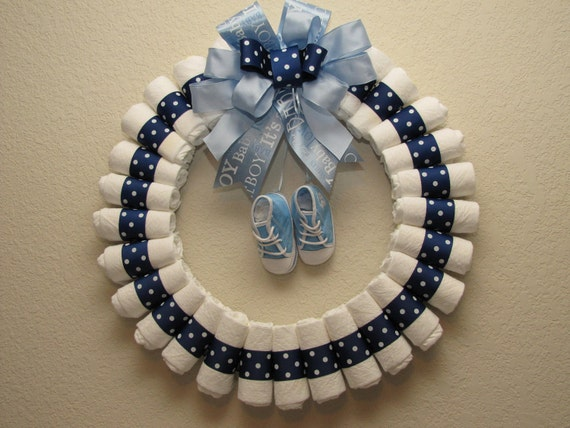 Items similar to large baby boy diaper wreath on etsy for Baby welcome home decoration
