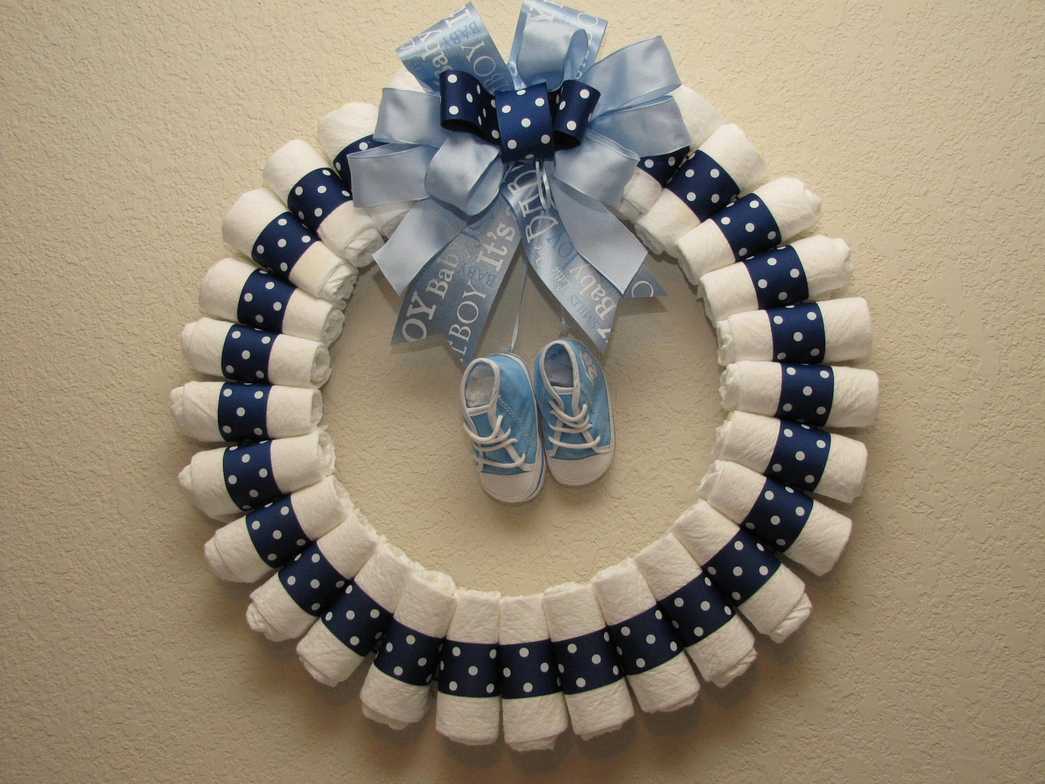 How to make a bow how to instructions - Large Baby Boy Diaper Wreath