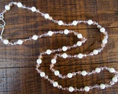 Beaded Necklace - Chains of Pearl and Sparkle:  Pale Pink Iridescent Faceted Beads and Faux Pearls - 35 inches long