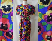 Gorgeous ALBERT NIPON 80's silk floral dress with vibrant pansy print