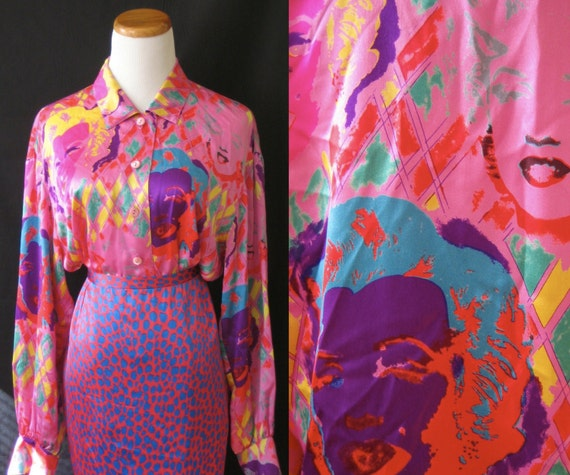 Wild 80's ESCADA Marilyn Monroe hot pink blouse with loads of blindingly bright colors