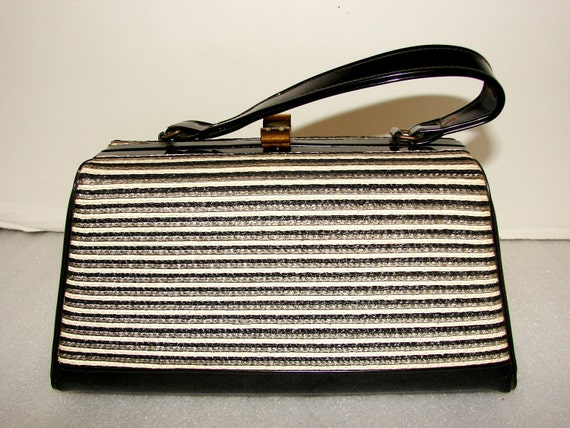 Black, Gray and White Small Handbag, Vintage Black Patent Leather & Fabric, Great Condition