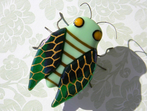 Harvey Cicada the Botanist - Fused Glass Insect Sculpture - signed by artist - green brown gold woodland garden home decor