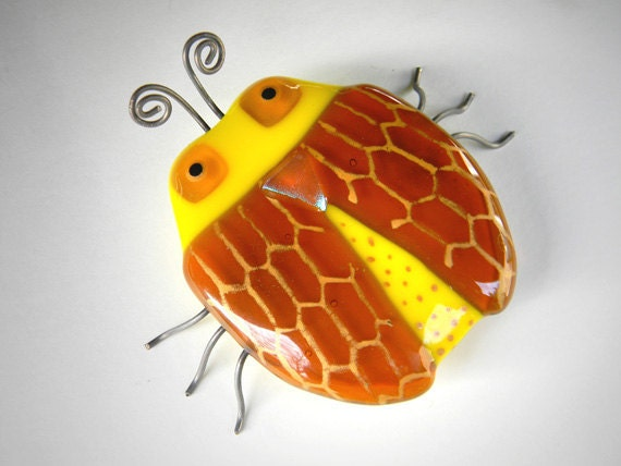 Savanah the Beetle Bug- Fused Glass Insect Sculpture - signed by artist - yellow gold amber kitch decor garden