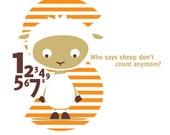 """Kids typographic poster - Counting Sheep """"S"""""""