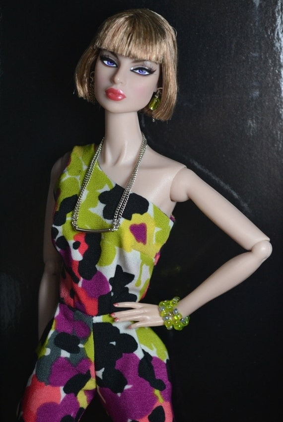 Fashion Royalty Doll Dress Spring Jumpsuit, Necklace, Earrings and Bracelets