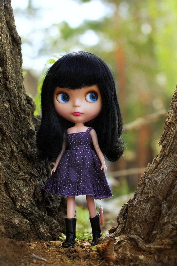 Blythe-sized Purple Polka Dot Spring Dress and Bead Bracelets