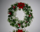 vintage chrismas plastic holly wreaths