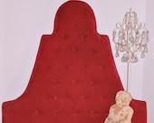 vintage red velvet high arch tufted headboard