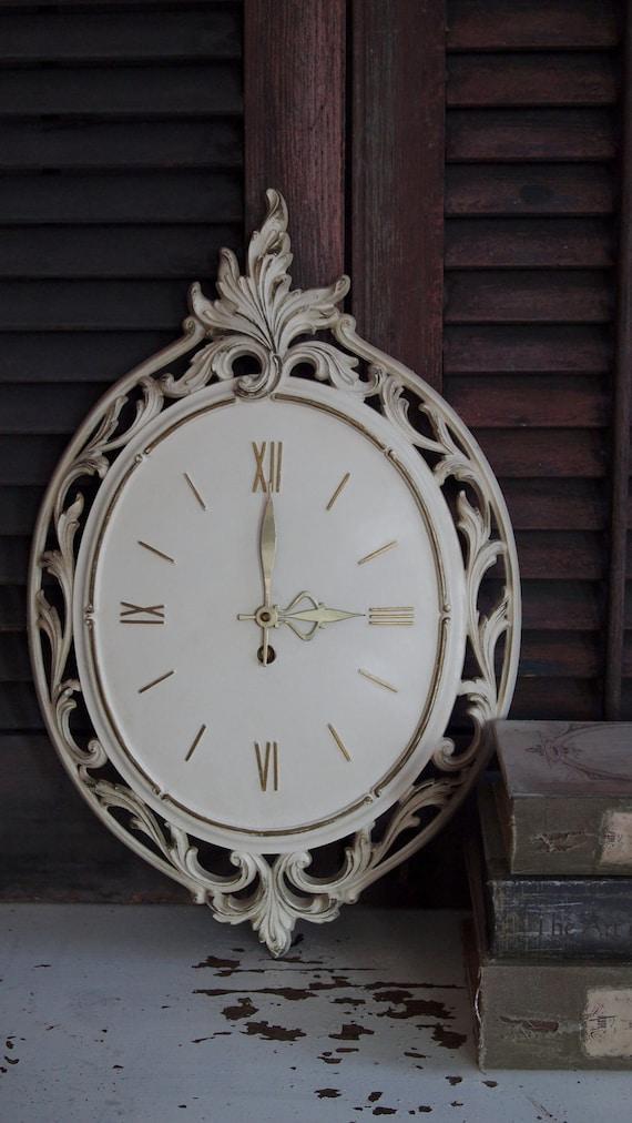 vintage 1963 syroco cream & gold wall clock