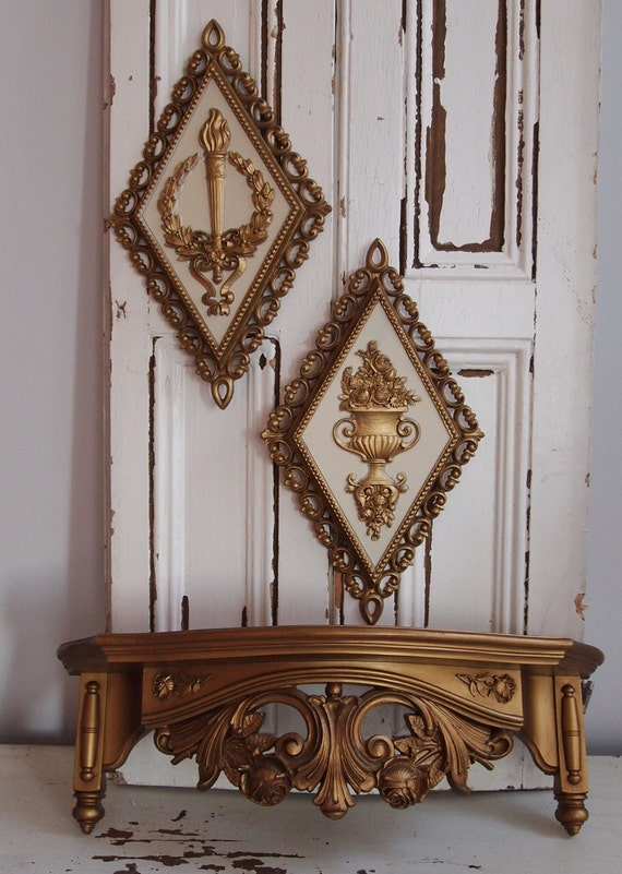 vintage dart industries/homco ornate gold wall shelf and plaques
