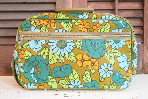 vintage funky floral small suitcase/cosmetic case