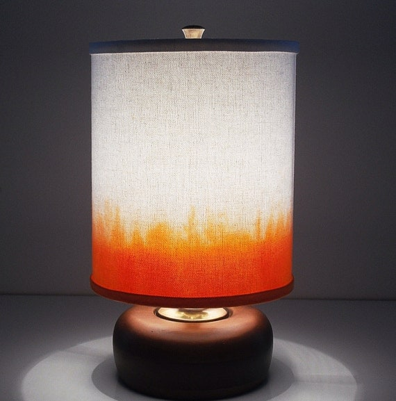 The Kiki Lamp with Dip-Dyed White Canvas Drum Lampshade