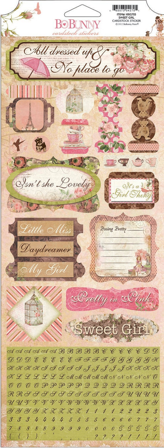 Bo Bunny  LITTLE MISS cardstock stickers Sweet Girl, just released  2012 BoBunny sticker sheet