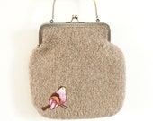 Knitted Felted Bag - Beige with embroidered pink bird