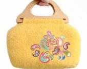 Wool felt bag - paisley embroidery on knit  felt yellow purse