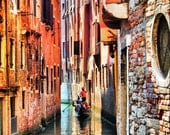 Gondolier in Canal - Venice, Italy -  Fine Art Photography Print - 8x12 - Home Decor