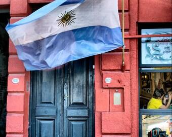 Argentina Flag and Door - Buenos Aires LA BOCA district - Fine Art Travel Photography Print - 8x12