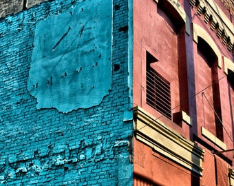 Blue and Red Brick Wall Urban Decay- Vancouver - Fine Art Photography Print - 8x12 - Affordable Home Decor