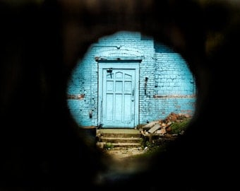 Blue Door Peephole Urban Decay- Vancouver - Fine Art Photography Print - 8x12 - Affordable Home Decor