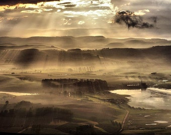Sunbeams Aerial Landscape of Scotland - Fine Art Photography - 8x12  - Affordable Home Decor