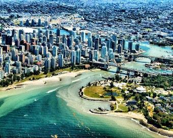 Vancouver Aerial Landscape -  Fine Art Photography - 8x12  - Affordable Home Decor