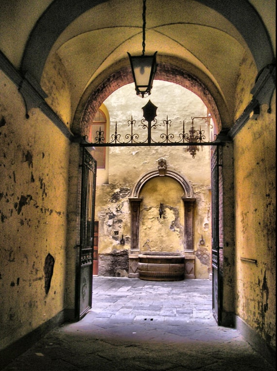 Fountain in Courtyard - Siena, Italy - Fine Art Photography Print - 8x12 - Travel