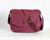 Messenger Bag, Canvas, Maroon, Medium, Canvas Bag, Purse, Over the Shoulder Bag