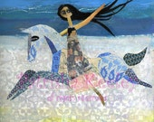 Girl on horse - whimsical fine art print - Riding the storm (HALF PRICE for a limited time only - enter code LOVE2014)