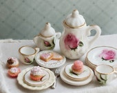 Pink Shabby Chic Cupcakes Cookies  1/12 Scale Dollhouse Miniature