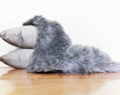 Newborn Fur - Newborn Photo Prop - Large 19 x 32 - Faux Shag Grey Fur  - Long Pile - Photo Props - Baskey Liner - Wrap - Blanket