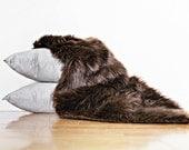 Fur Photo Prop, Newborn Photo Prop, 19 x 32, Faux Fur in Rich Brown Chocolate Luxury Shag, Long Pile