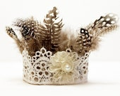 Newborn Crown, Newborn Photo Prop, Newborn Mini Crown, Newborn Feather Crown for Girl with Rosette, Lace, Pearl - Tribal Collection